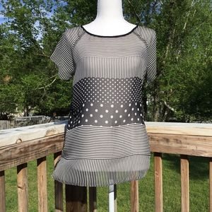 The Limited Sheer Stripe and Polka Dot Top